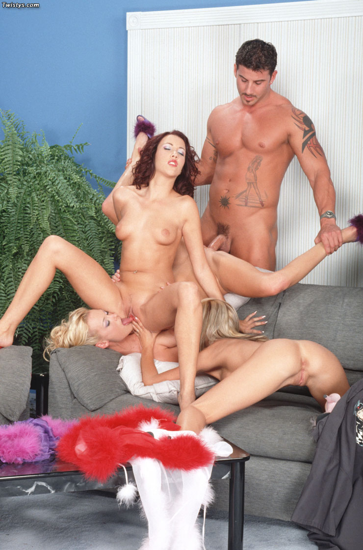 A very lucky guy ends up fucking his gf and her hot friend 9